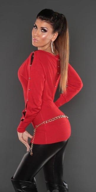 pulover dlhy s cipkovym zdobenim cerveny 646