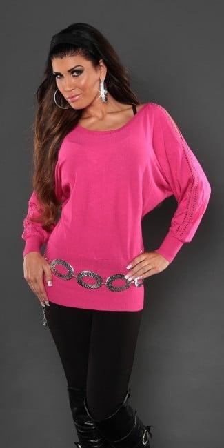 pulover polodlhy s nastrihnutymi rukavmi ruzovy 663