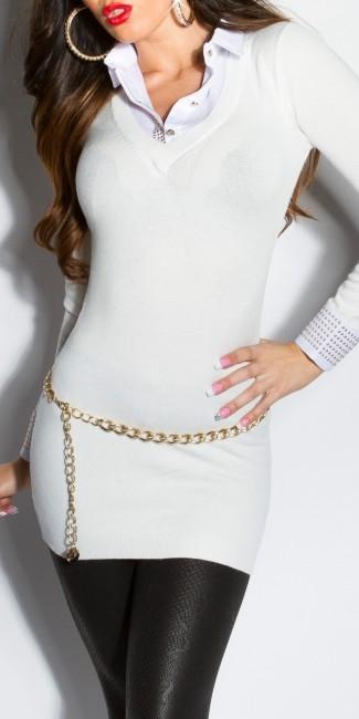 pulover s imitaciou bluzky so zlatymi nitmi biely 640
