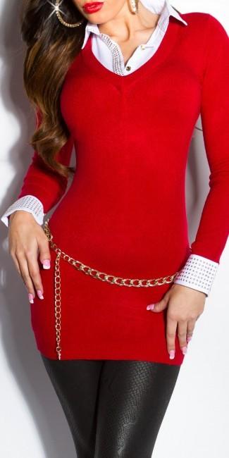 pulover s imitaciou bluzky so zlatymi nitmi tmavo cerveny 637