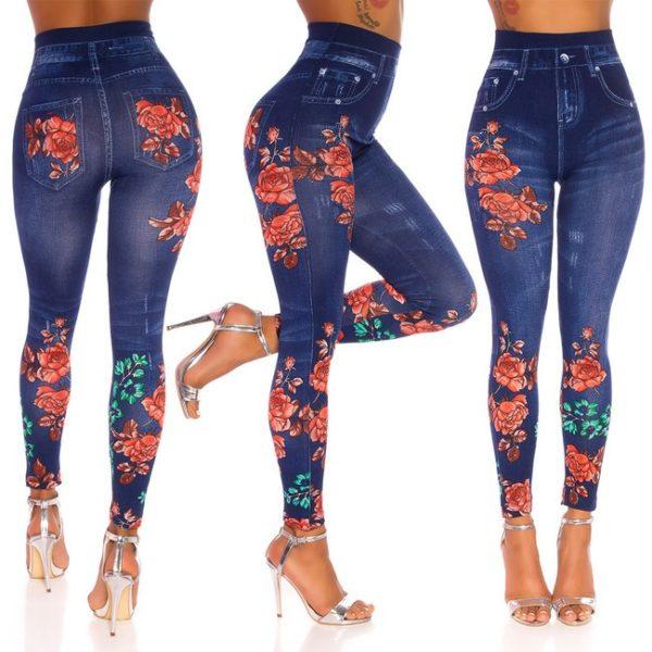 Legíny riflové s vysokým pásom, ružičkové, modré