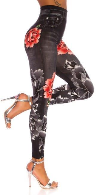 Riflové legíny s vysokým pásom, s kvetmi, čierne