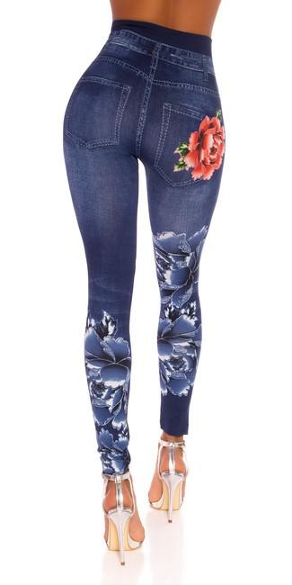 Riflové legíny s vysokým pásom, s kvetmi, modré