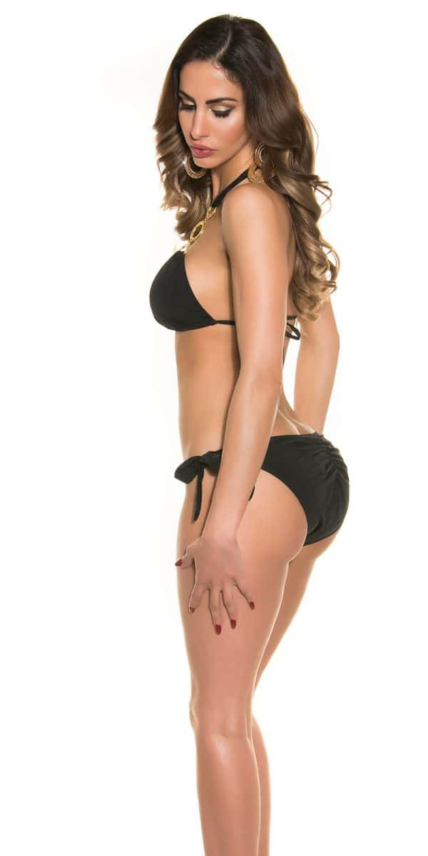 rrTriangle Bikini with rings and rhinestones Color BLACK Size L 0000ISF18156E SCHWARZ 27