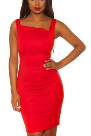 Dámske Šaty červené elegantné, so šikmým dekoltom KOUCLA
