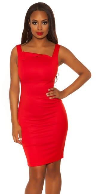Šaty červené elegantné, so šíkmým dekoltom KOUCLA