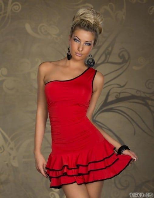 Dámske Šaty červené s volánikmi na jedno ramienko