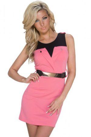Šaty elegantné ružové s opaskom