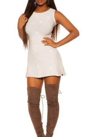 Šaty hladké ligotavé, biele, s vykrojeným driekom