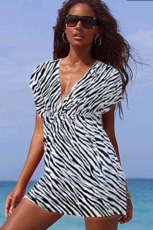 Šaty letné plážové zebrovité