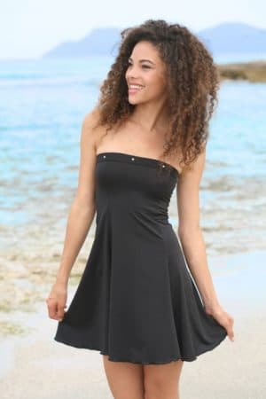 Šaty mini sexy bez ramienok čierne