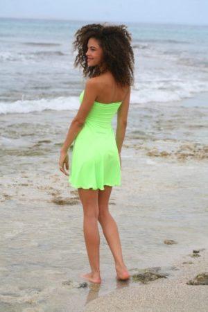 Šaty mini sexy bez ramienok zelené