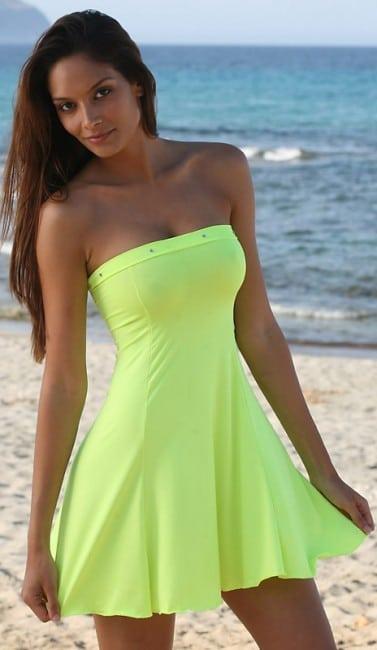 Šaty mini sexy bez ramienok žlté