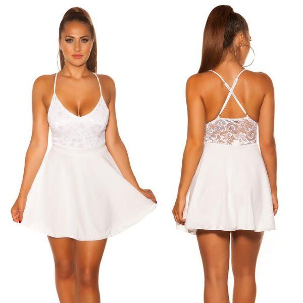 Šaty mini s čipkou biele 2020