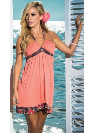 šaty plážové ružové s kvetinovým lemom