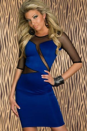Dámske šaty modré so sieťovinou
