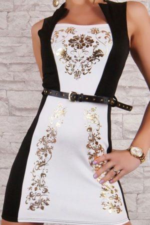 Šaty so zlatou potlačou biele
