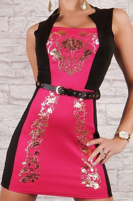 Šaty so zlatou potlačou ružové
