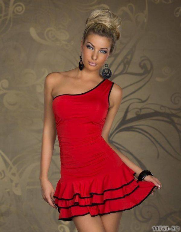 Šaty Samba s točivou sukňou červené XXL