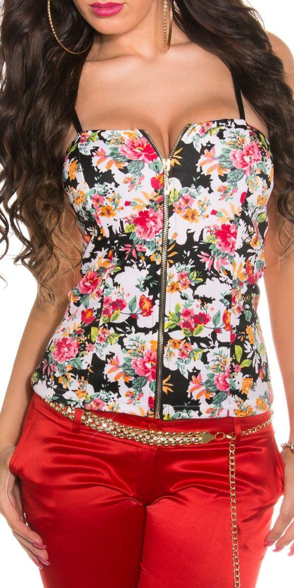 Top na zips s ramienkami kvetinový