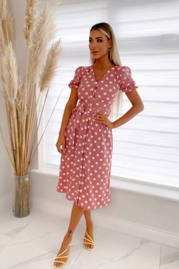pink white puff sleeve polka dot belted midi dress p10106 1258499 image 1