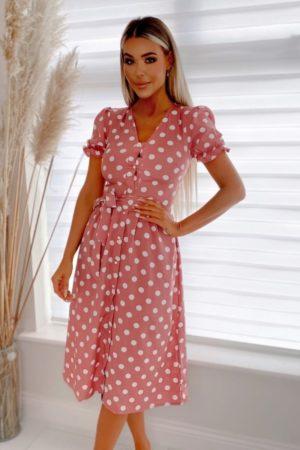 Šaty midi bodkované ružové