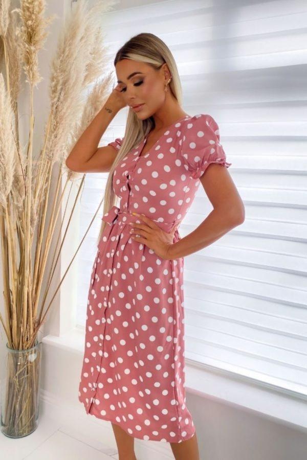pink white puff sleeve polka dot belted midi dress p10106 1258526 image