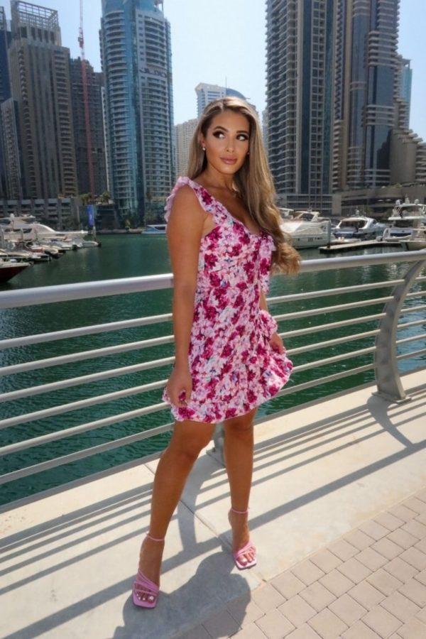 Letné kvetinové šaty s volánikom