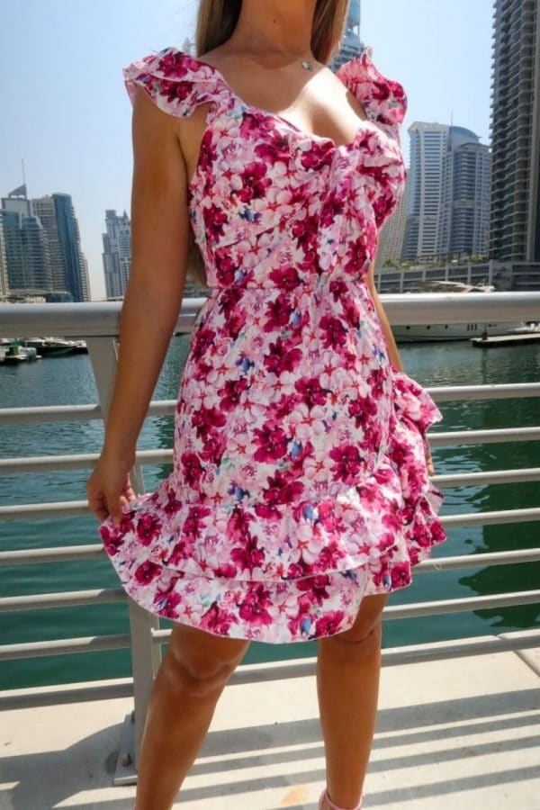 white pink floral tie front multi ruffle mini dress p10118 1258687 image