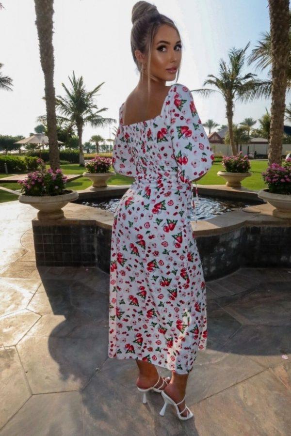 white red fruit print cut out waist thigh split maxi dress p10102 1258698 image