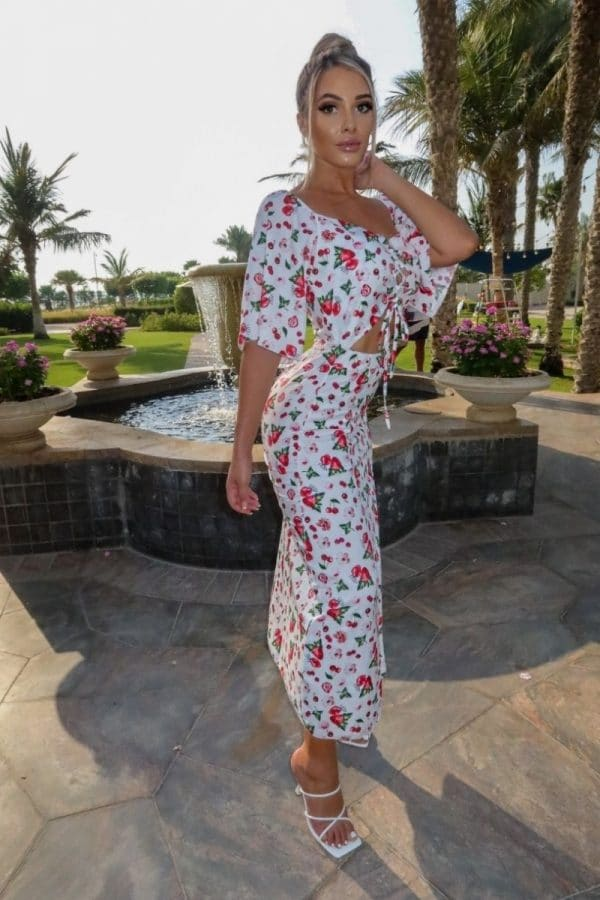 white red fruit print cut out waist thigh split maxi dress p10102 1258702 image