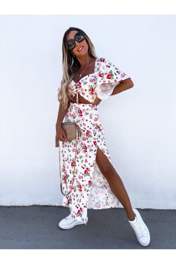 white red fruit print cut out waist thigh split maxi dress p10102 1261517 image