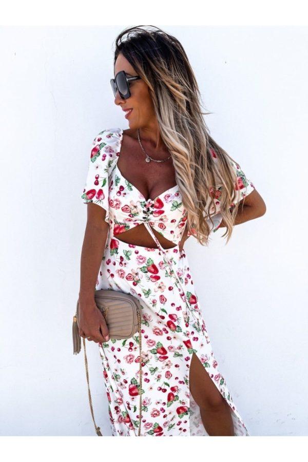 white red fruit print cut out waist thigh split maxi dress p10102 1261520 image