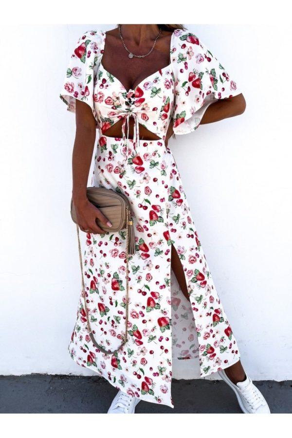 white red fruit print cut out waist thigh split maxi dress p10102 1261522 image