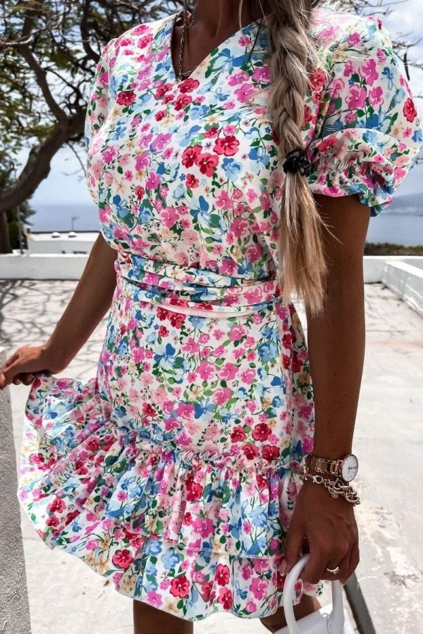 pink blue floral v neck puff sleeve tiered dress p10189 1283475 image