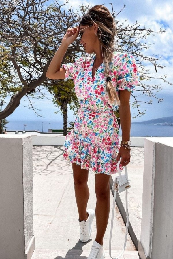 pink blue floral v neck puff sleeve tiered dress p10189 1283477 image