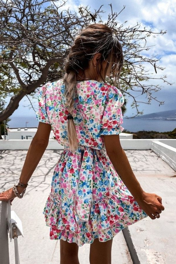 pink blue floral v neck puff sleeve tiered dress p10189 1283480 image