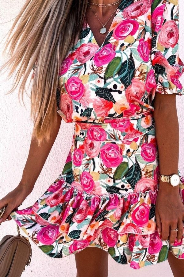 pink green floral v neck puff sleeve tiered dress p10188 1283989 image
