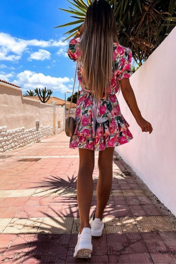 pink green floral v neck puff sleeve tiered dress p10188 1283994 image