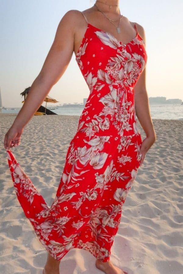red floral tie waist tiered maxi dress p10112 1258230 image