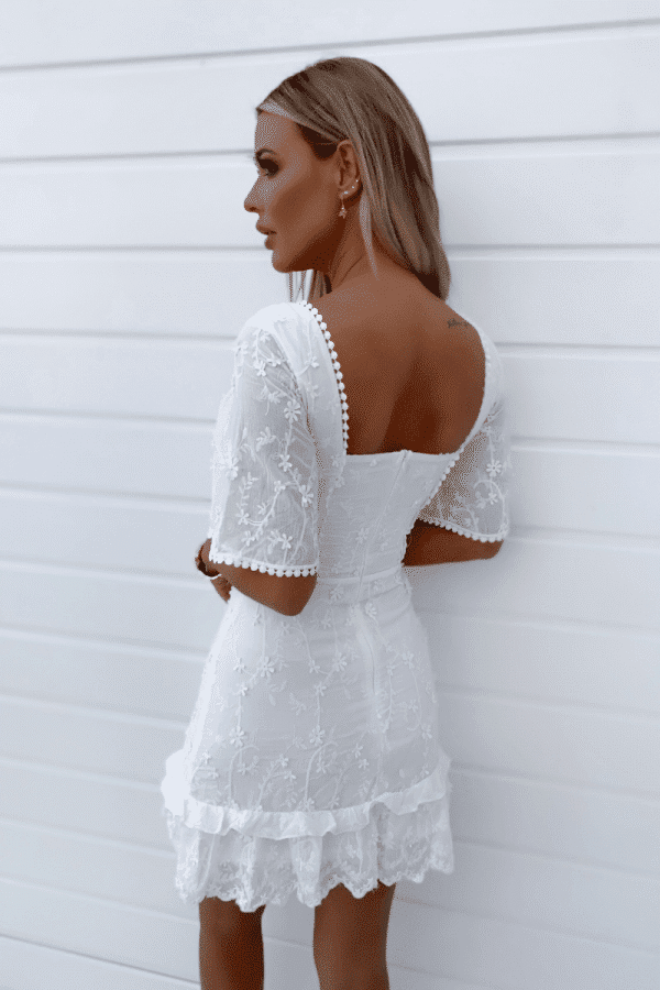 white embroidered fluted sleeve mini dress p10062 1249746 image