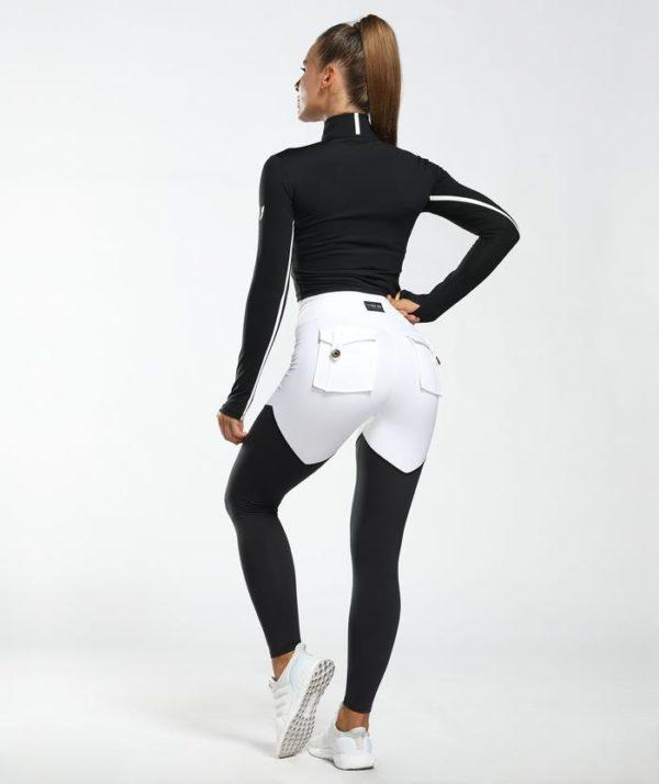 Legíny na cvičenie čiernobiele s vreckami
