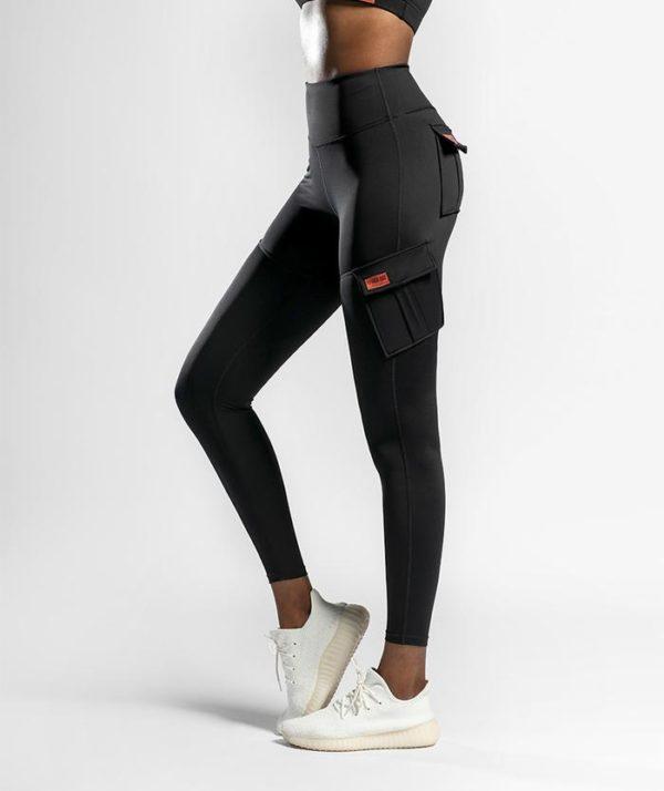 Legíny na cvičenie čierne s vreckami